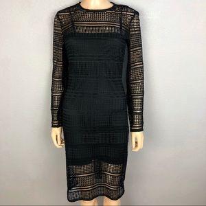 Zara Broderie Anglaise Black Dress Knee Length